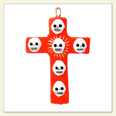 Day of The Dead Colored Skull Cross