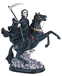 Santa Muerte 12 Inches Tall on Black Horse