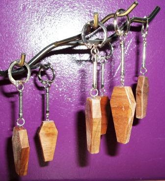 Wooden Coffin Keychain