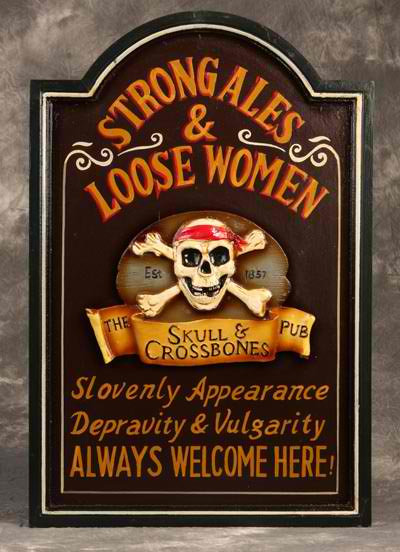 Skull and Crossbones Wooden Bar Sign