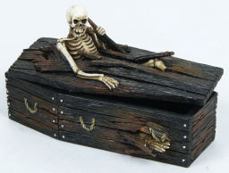 Coffin Skeleton Out of Box Thinker