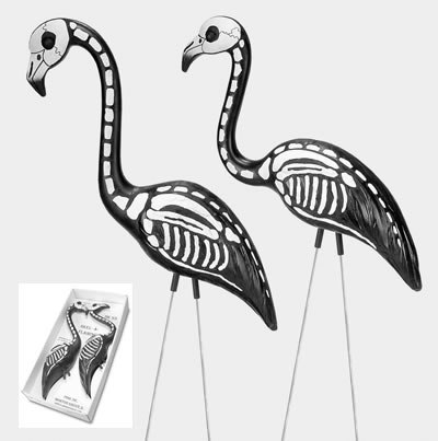 Skel A Mingo-Skeleton Flamingos